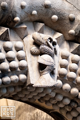 A detail from the neo-renaissance style entrance gate of the Palacio da Pena in Sintra, Portugal