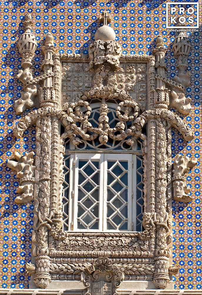 A detail from the Manueline-style window from the Palacio da Pena in Sintra, Portugal
