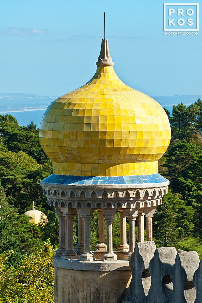 A domed lookout from the Palacio da Pena in Sintra, Portugal