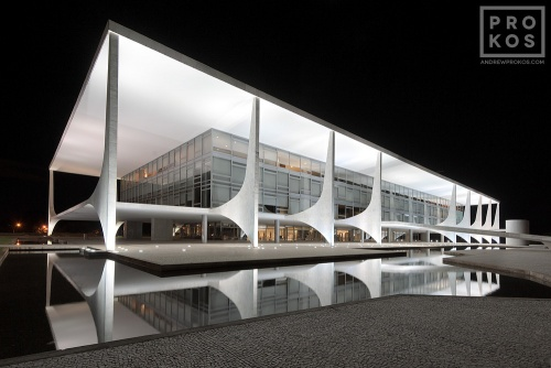 A long-exposure view of the Palacio do Planalto at night, Brasilia, Brazil. From the award-winning fine art architecture series 'Niemeyer's Brasilia'