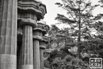 A black and white fine art photo of the massive columns in Gaudi's Parc Guell, Barcelona, Spain
