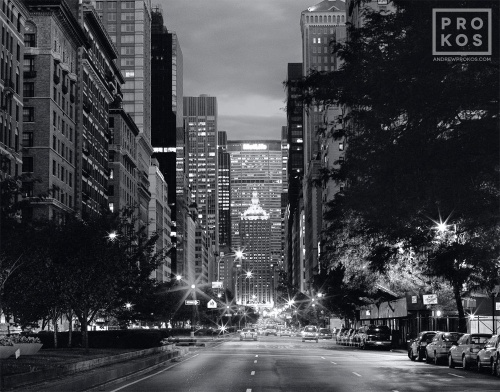 A black and white fine art cityscape photo of Park Avenue at dusk, New York City