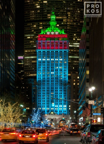 A night view of Park Avenue at and the lighted Helmsley Building in Midtown Manhattan at Christmas.