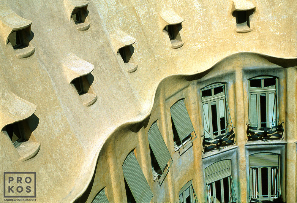 Casa Mila (the Pedrera), one of the best examples of the Modernist architecture of Antoni Gaudi in Barcelona, Spain
