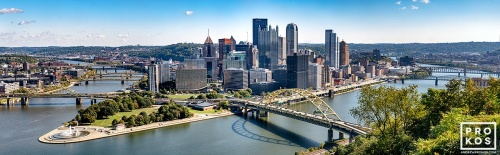 An ultra-high resolution panoramic skyline of Pittsburgh, Pennsylvania during the day.