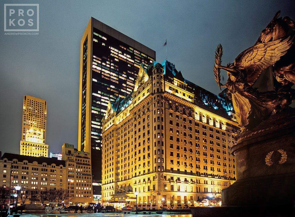 A wide angle view of the Plaza Hotel at night, New York City