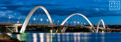 A panoramic long-exposure photo of Juscelino Kubitschek Bridge at dusk, Brasilia, Brazil