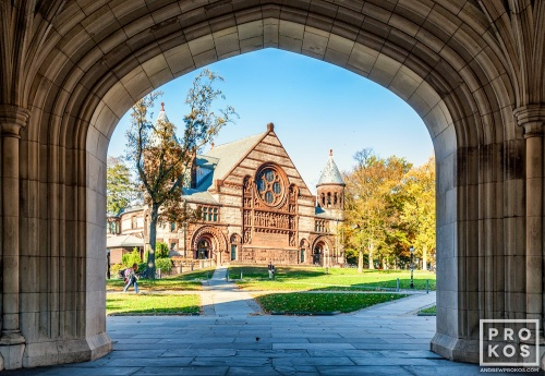 A fine art architectural photo of Alexander Hall framed in the arch of Blair Hall on the campus of Princeton University, New Jersey
