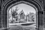 A black and white fine art photo of Alexander Hall framed in the arch of Blair Hall on the campus of Princeton University, New Jersey