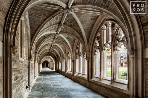 A fine art architectural photo of the Cloister of Rockefeller College on the campus of Princeton University, New Jersey
