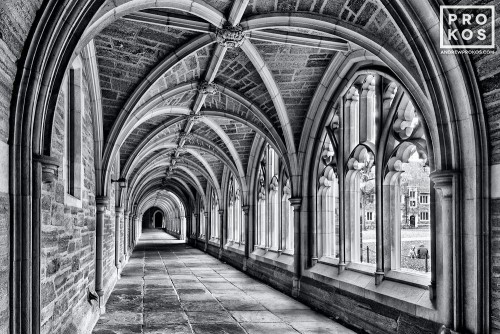 A black and white fine art photo of Rockefeller College cloister on the campus of Princeton University, New Jersey