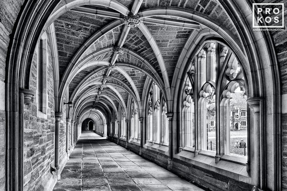 A black and white view of the Cloister of Rockefeller College on the campus of Princeton University, New Jersey