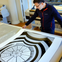 Guggenheim Museum 48x36 Monochrome Print by Andrew Prokos