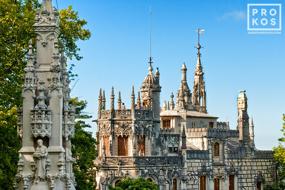 A view of the Quinta da Regaleira Palace from the gardens, Sintra, Portugal