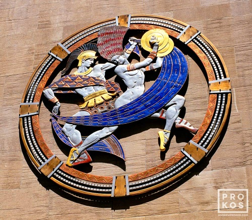 An art deco rondel representing Dance on the facade of Radio City Music Hall, New York City