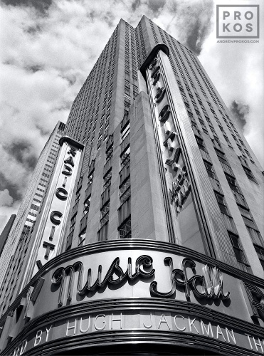 A fine art architectural photograph of the facade of Radio City Music Hall in black and white, New York City