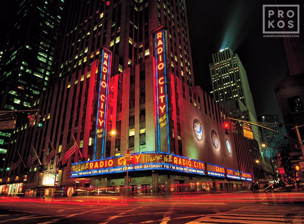 A view of Radio City Music Hall at night, New York City