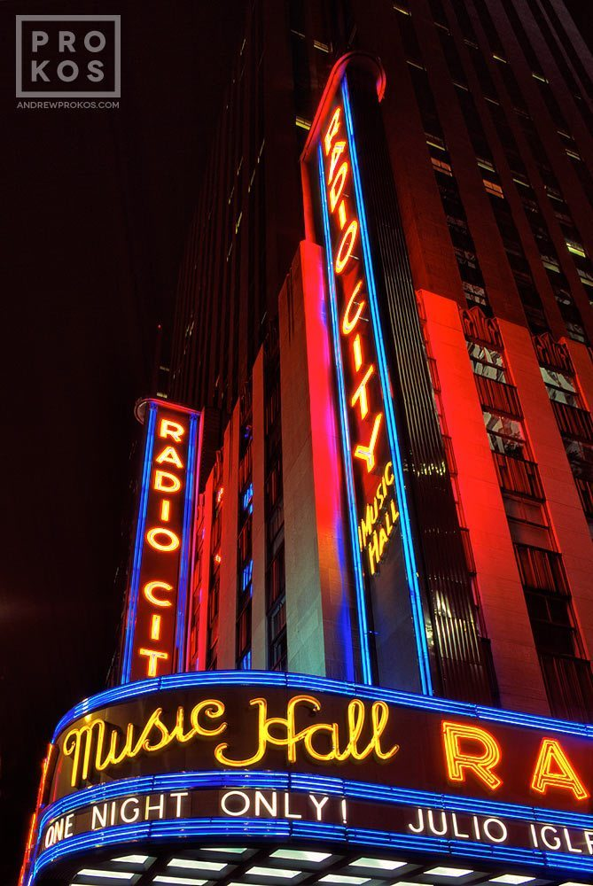 Neon signs of Radio City Music Hall at night, New York City