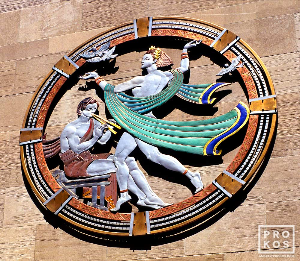An art deco rondel representing Song on the facade of Radio City Music Hall, New York City