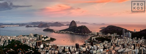 A panoramic view of Botafogo and the Sugarloaf Mount at dusk, Rio de Janeiro.