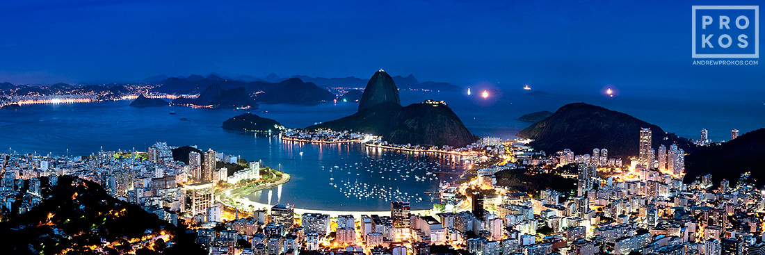 "A panoramic view of Botafogo and the Sugarloaf Mount at night, Rio de Janeiro. Large format prints of this photo are available up to 90"" wide."