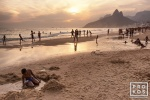 A fine art photo of Ipanema beach at sunset, Rio de Janeiro, Brazil. Vista da praia de Ipanema ao por-de-sol.