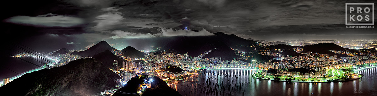 An ultra high-definition panoramic photograph of Rio de Janeiro at night from the Pao de Acucar (Sugarloaf Mountain).