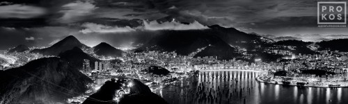 An ultra high-definition black and white panoramic photo of Rio de Janeiro at night from the Sugarloaf Mount (Pao de Acucar). Large-scale fine art prints of this photo are available up to 90 inches wide.