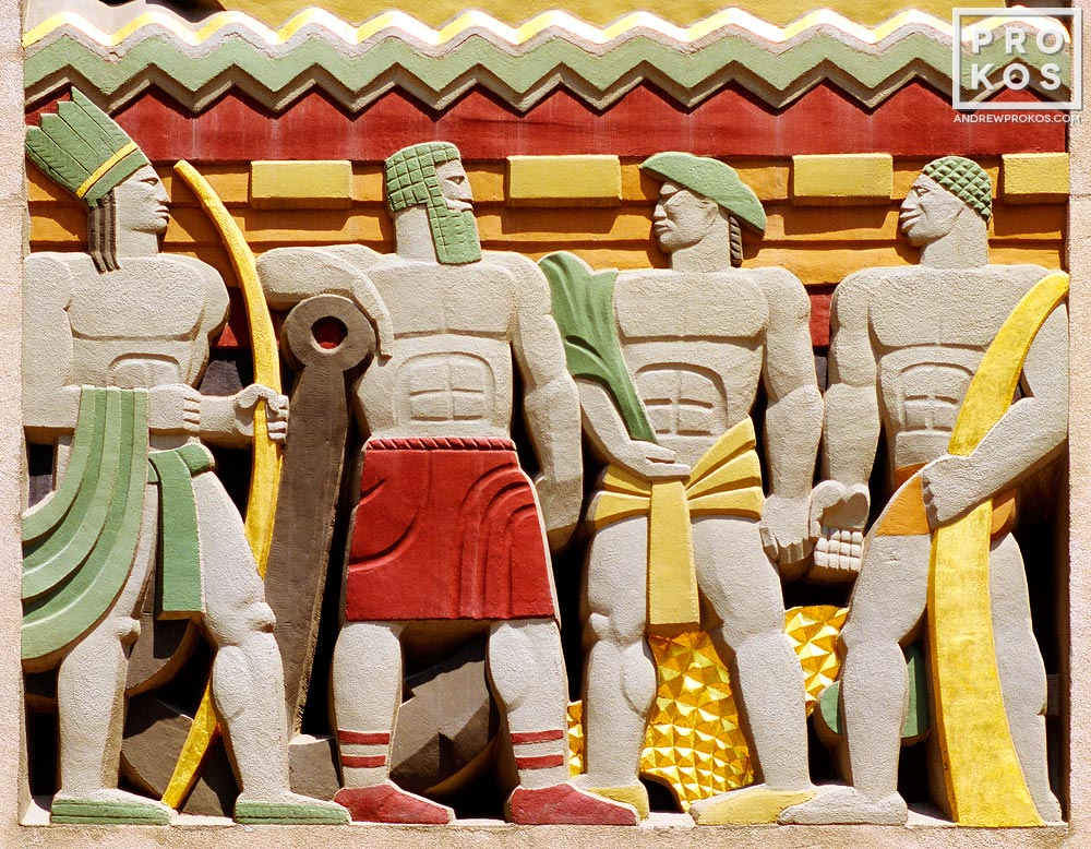 A colorful Art Deco architectural detail found at Rockefeller Center, New York City