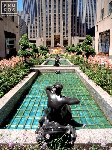 A high-definition architectural photo of the Channel Gardens at Rockefeller Center in New York City
