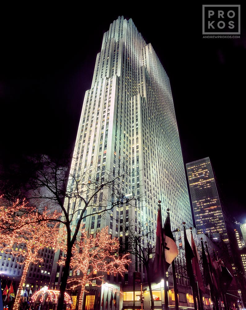A view of Rockefeller Center at night, New York City