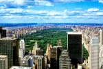 A large-format panoramic photo of the view of Midtown Manhattan and Central Park from Rockefeller Center, New York City
