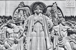 A black and white fine art photo of a carved stone relief in the Art Deco style at Rockefeller Center, New York City