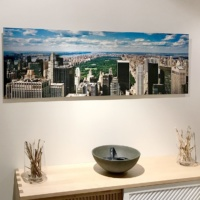 A panoramic photo of New York's Central Park as seen from Rockefeller Center, by photographer Andrew Prokos.