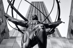 A black and white fine art photo of the Art Deco Atlas statue at Rockefeller Center, New York City
