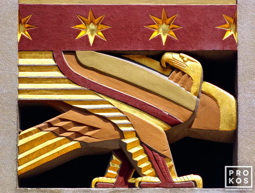 An architectural detail photo of Art Deco eagle from Rockefeller Center, New York City