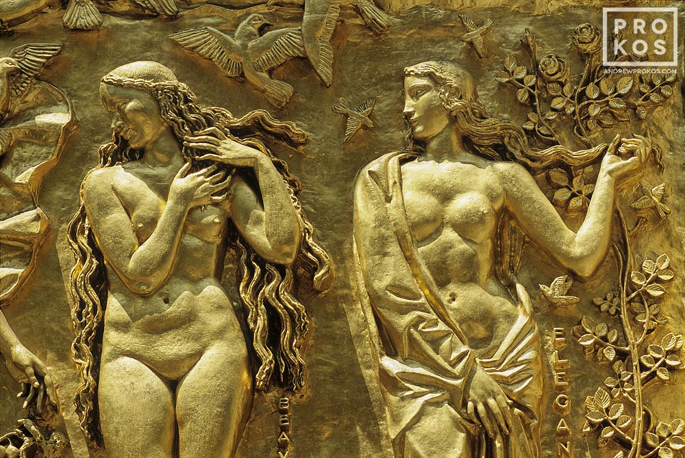 Detail from a gilded bas-relief entitled The Friendship of France and the United States at the Maison Francais (610 Fifth Avenue), Rockefeller Center, New York