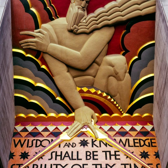 An Art Deco architectural detail from 30 Rockefeller Center, New York City