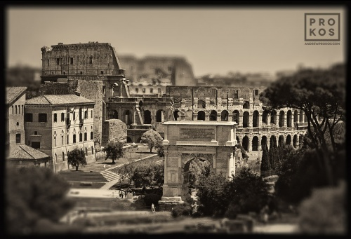 "A view of the Colosseum and the Arch of Titus in the ancien Roman Forum. From the monochrome photo series ""Forum Romanum"""