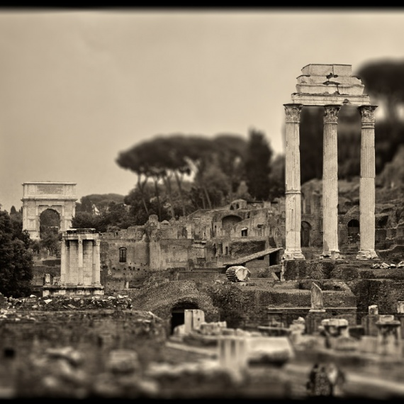 Ancient ruins in the Roman Forum, including the temples of Castor and Pollux, the temple of Venus, and the Arch of Septimus Severus. From the monochrome photo series