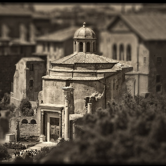 A view of the Senate in the ancient Roman Forum from the monochrome photo series