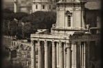 "A view of the Temple of Antoninus and Faustina in the ancient Roman Forum. From the monochrome photo series ""Forum Romanum""."