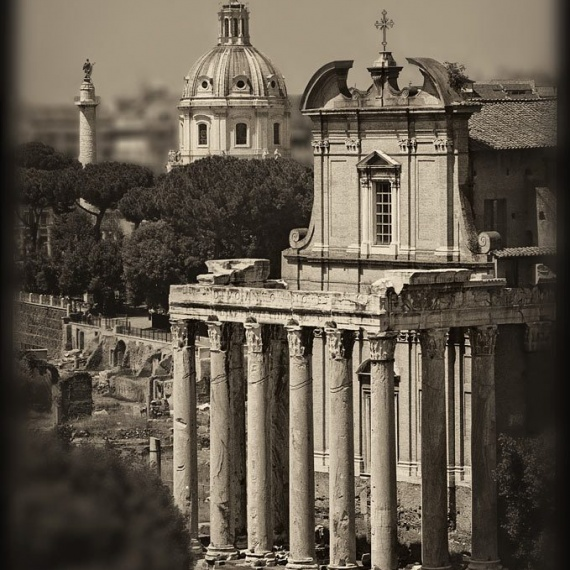 A view of the Temple of Antoninus and Faustina in the ancient Roman Forum. From the monochrome photo series