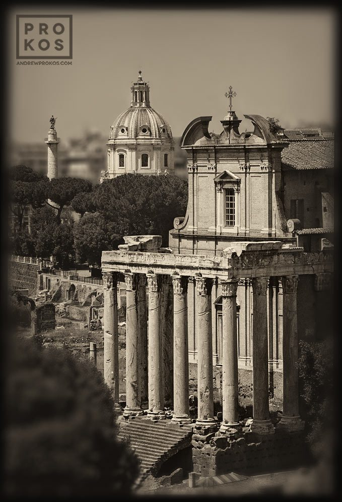 "A view of the Temple of Antoninus and Faustina in the ancient Roman Forum. From the series of monochrome limited edition prints entitled ""Forum Romanum"""