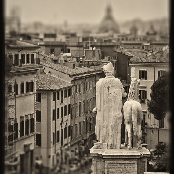 A view of Rome, Italy from the Campidoglio in black and white. From the monochrome photo series
