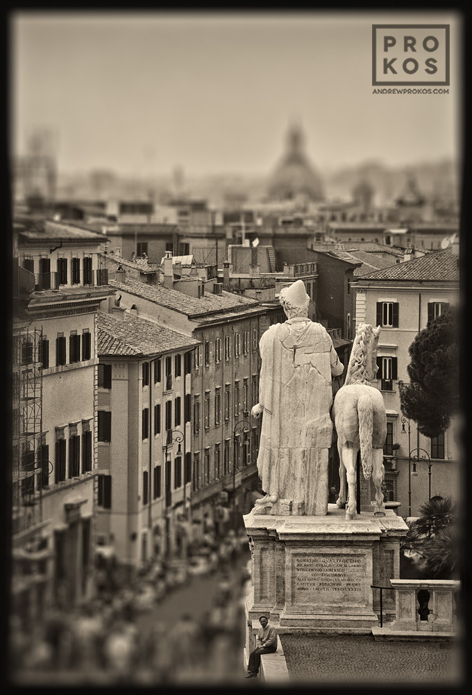 "A view of Rome, Italy from the Campidoglio in black and white. From the series of monochrome limited edition prints entitled ""Forum Romanum"""