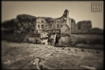 "Ruins of the Domus Augustana on the Palatine Hill in Rome, Italy. From the monochrome photo series ""Forum Romanum"""