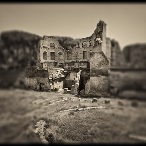 Ruins of the Domus Augustana on the Palatine Hill in Rome, Italy. From the monochrome photo series