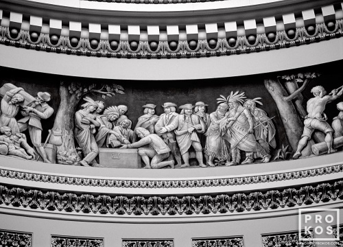 An architectural detail photo of the rotunda of the United States Capitol building, Washington DC