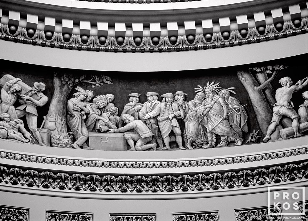 An architectural detail photo of the rotunda of the United States Capitol building, Washington DC.